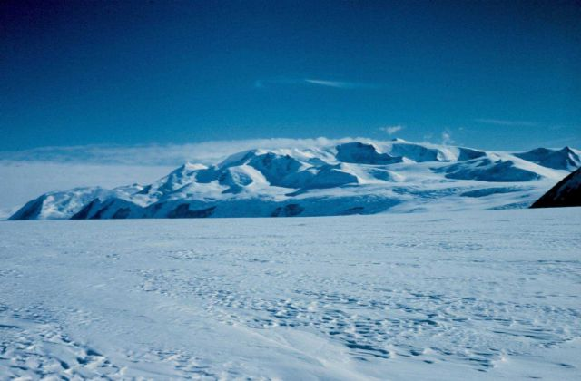 Passing along the front of the Trans-Antarctic Mountains on the way up Skelton Glacier Picture