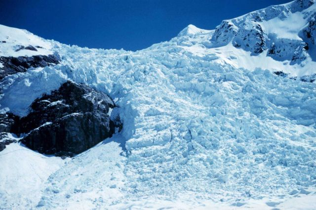 A closeup of a jumbled mass of ice on a mountainside Picture