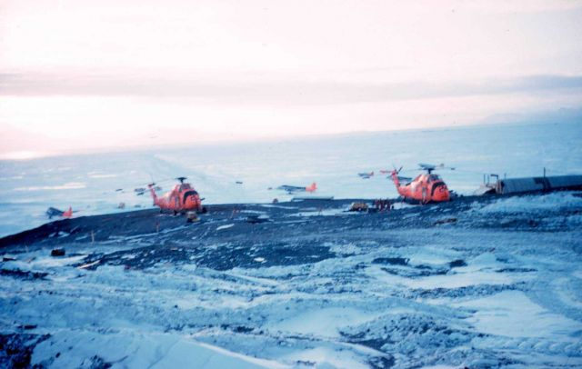 Helicopters at McMurdo Station. Picture