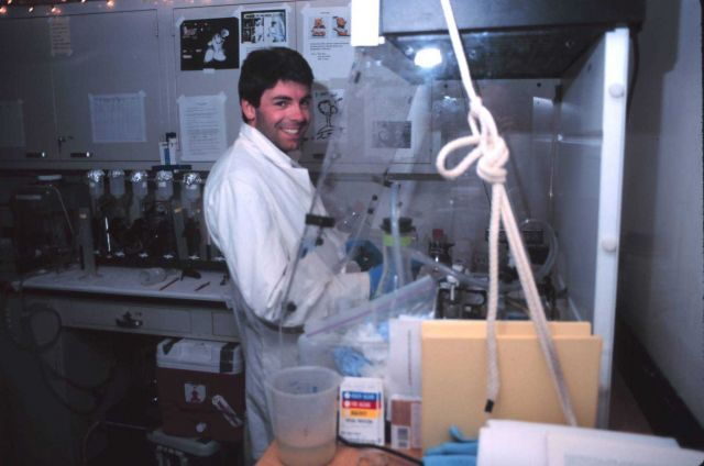Scientist conducting phytoplankton taxonomy research. Picture