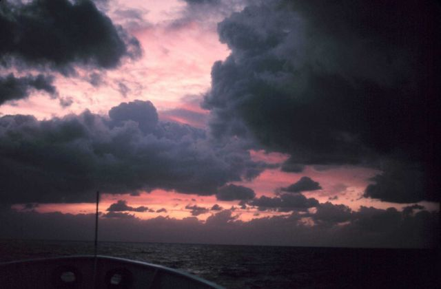 The bow of the NOAA Ship ALBATROSS IV heading towards the rising sun. Picture