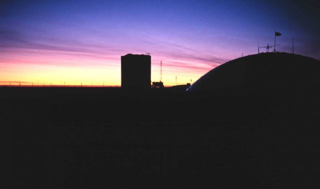 Sunset over the station in the austral fall of 1997. Picture