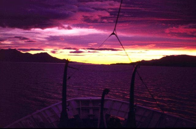 Sunrise on the Beagle Channel, named for HMS BEAGLE of Darwin fame. Picture