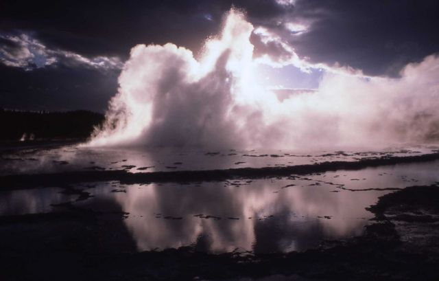 Great Fountain Geyser with sunset Picture