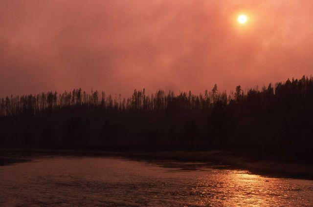 Smokey sunset along Madison River Picture