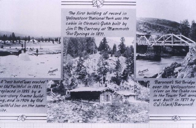 Haynes photos showing McCartney's Hotel, Barronett's Toll Bridge (built 1871) & tent hotel at Old Faithful 1883 Picture