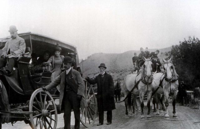 Tourists in stagecoaches Picture