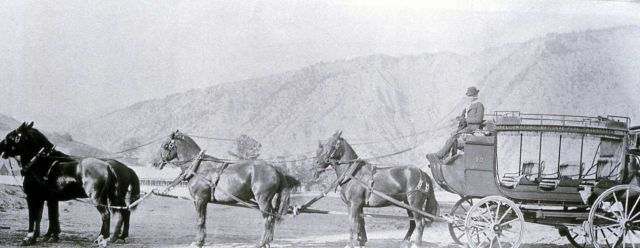 Six-horse stagecoach with Mt Everts in the background Picture