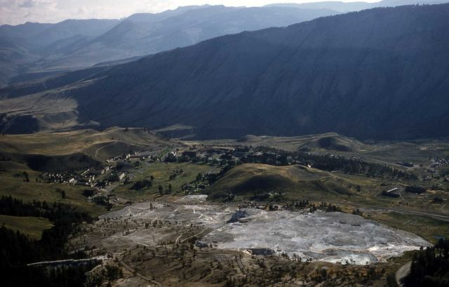Aerial view of Mammoth Hot Springs Picture