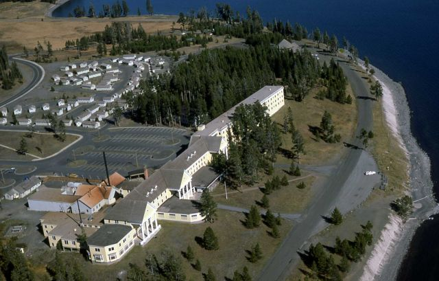 Aerial view of Lake Hotel & cabin areas Picture