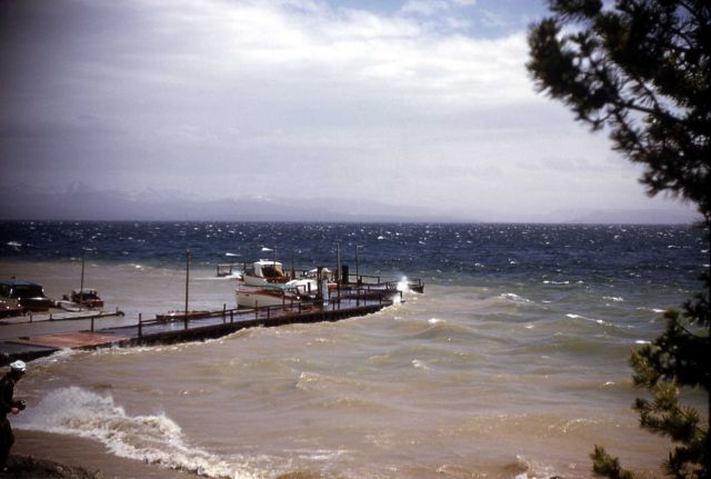 Storm at Yellowstone Lake boat dock Picture