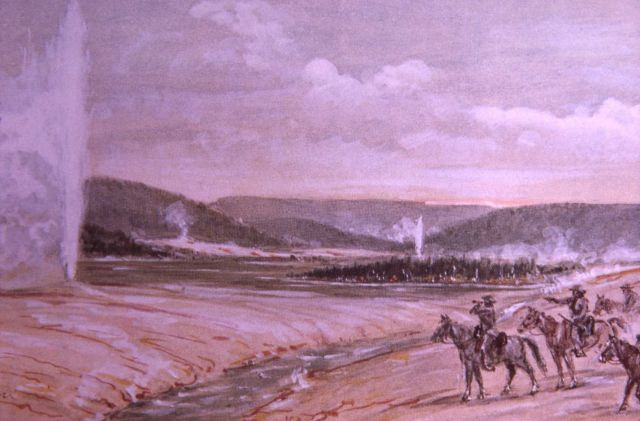 Painting of Old Faithful depicting Hayden Survey 1871 Picture