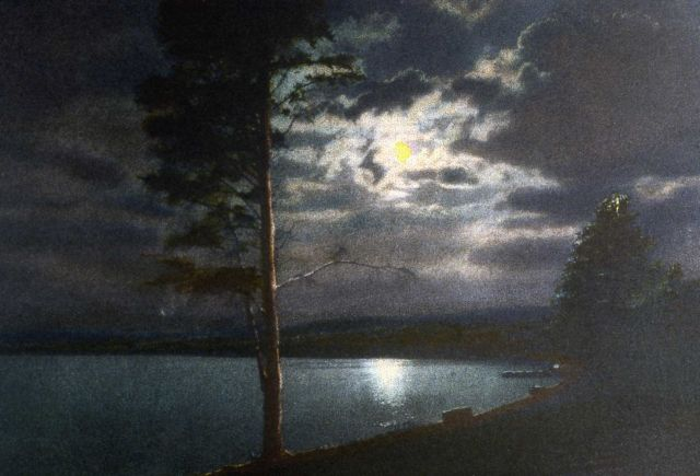 Postcard of moonlight on Yellowstone Lake Picture