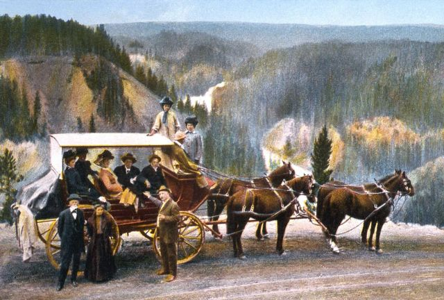 Postcard of a stagecoach near the Upper Falls of the Yellowstone River Picture