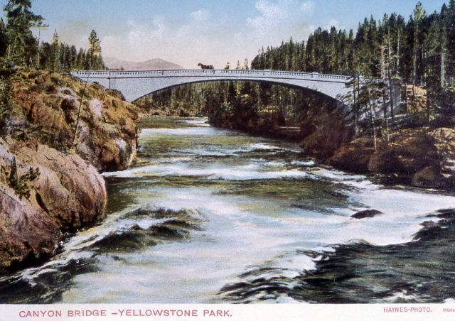 Postcard of Canyon Bridge over the Yellowstone River (Chittenden Bridge) Picture