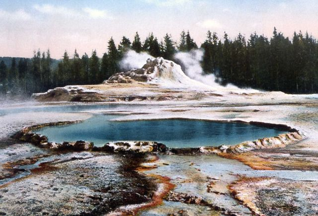 Postcard of Crested Pool & Castle Geyser Picture