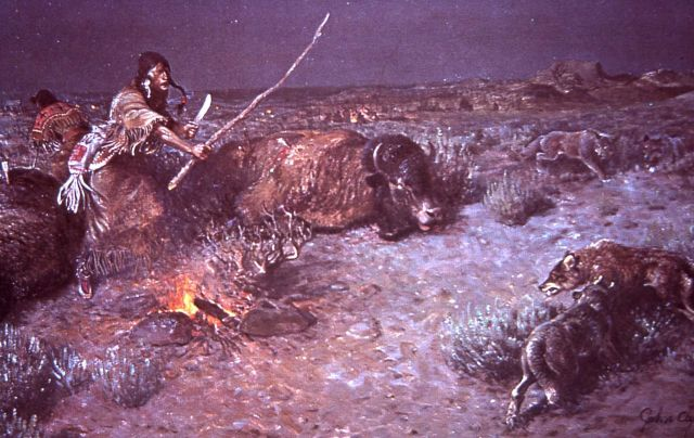 Indian buffalo (bison) kill Picture