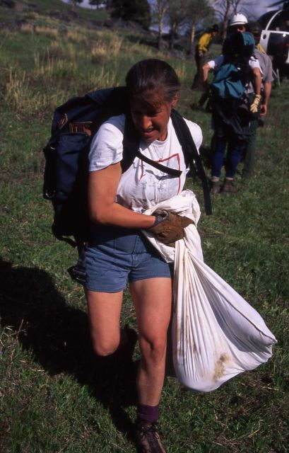 Deb Guernsey carrying four wolf pups in a bag Picture