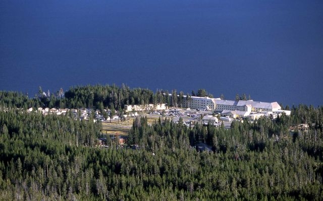 Yellowstone Lake Hotel & cabin area as seen from Elephant Back Picture