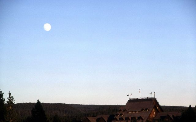 Old Faithful Inn with moon Picture
