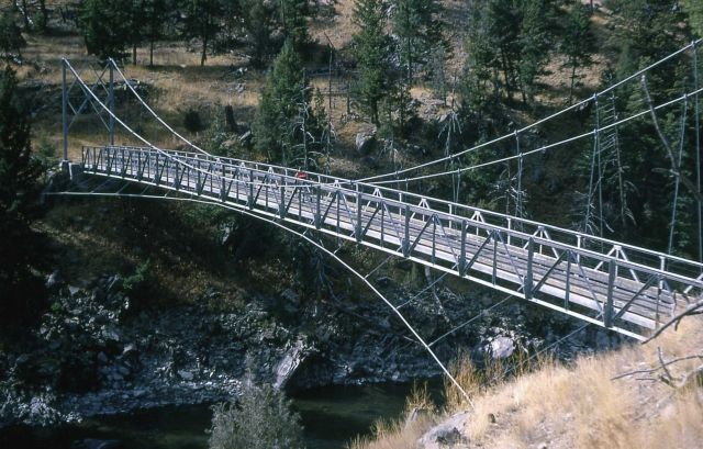 Suspension bridge over the Yellowstone River at Lower Blacktail Picture
