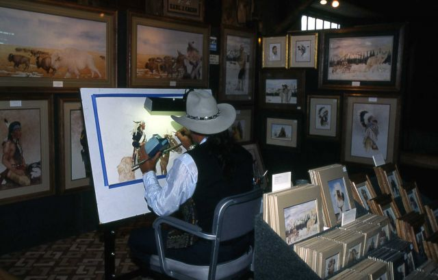 Earl Cacho, artist, Old Faithful Lodge Picture