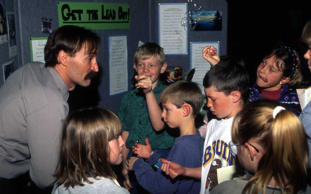 Rich Jehle with Mammoth school children on Earth Day, at Gardiner school in Gardiner, Montana Picture