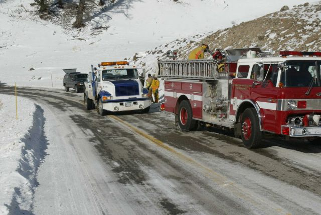 Structural fire crew at motor vehicle accident Picture