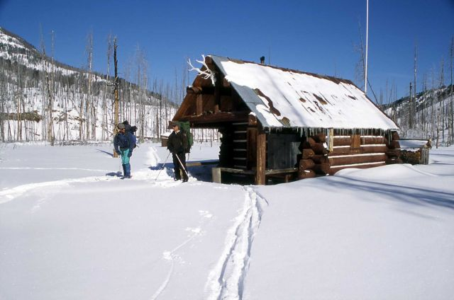 Ranger Brian Chan & Dave Long at Calfee Creek cabin in the winter Picture