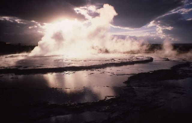Great Fountain Geyser at sunset - Midway & Lower Geyser Basin Picture