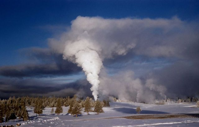 Castle Geyser in steam phase in winter - Upper Geyser Basin Picture