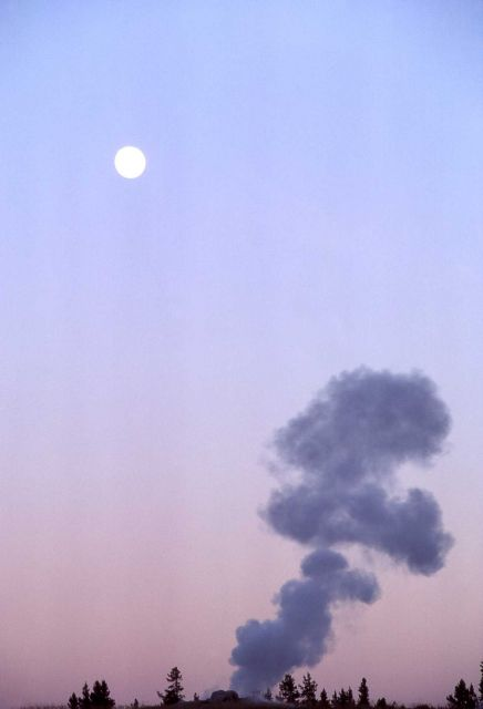 Old Faithful Geyser & moon - Upper Geyser Basin Picture