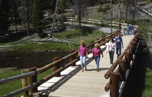 Visitors crossing bridge over Firehole River in Upper Geyser Basin Picture