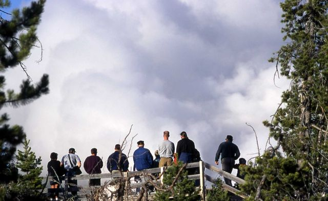 Visitors watching steam phase of Steamboat Geyser from May 2, 2000 eruption Picture