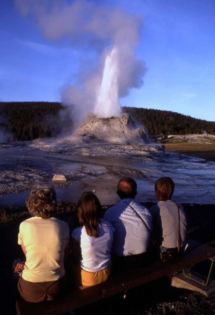 Visitors watching Castle geyser Picture