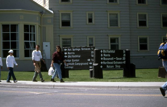 Visitors in front of Mammoth Hot Springs Hotel Picture