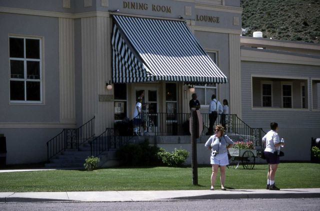 Visitors in front of Mammoth Hot Springs Hotel dining room Picture