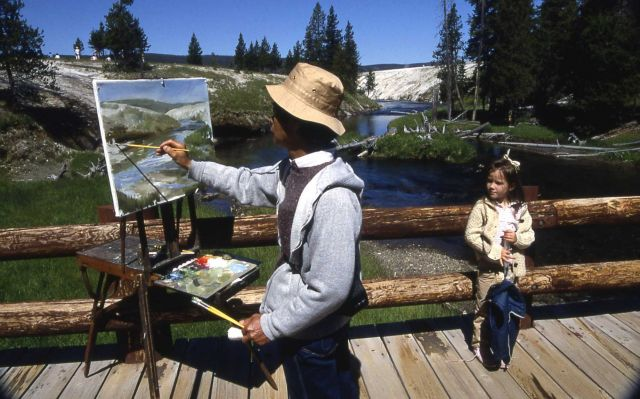 Artist on bridge over the Firehole River near the Observation Point trail Picture
