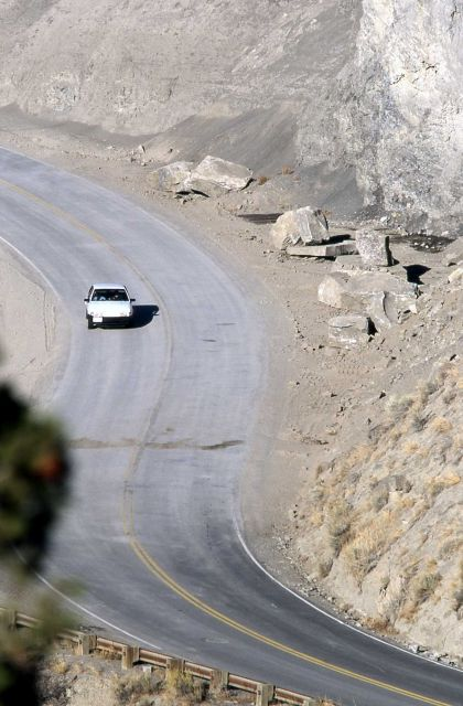Car in Gardner Canyon at site of December 1999 rock slide, after cleanup Picture
