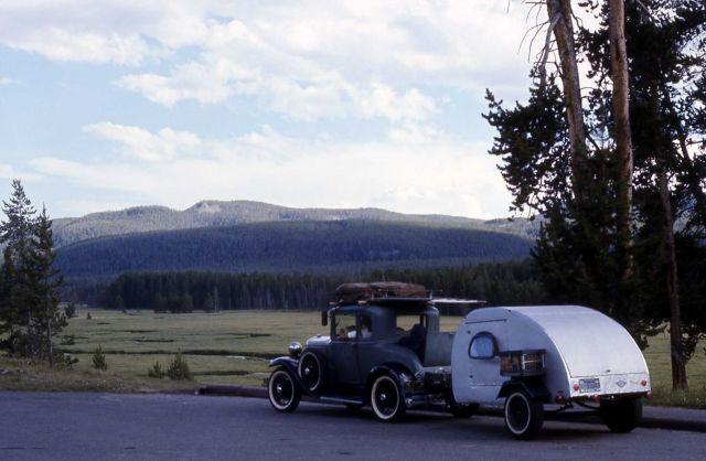 Antique car pulling trailer Picture