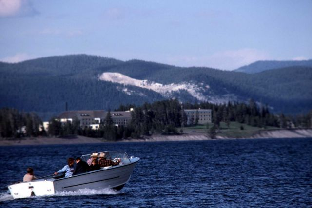 Boating on Yellowstone Lake Picture