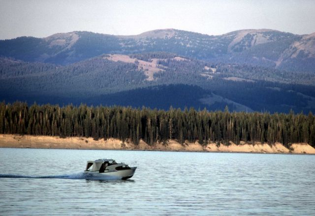 Boat on Yellowstone Lake Picture