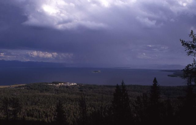 Yellowstone Lake as seen from Elephant Back trail, hotel can be seen Picture