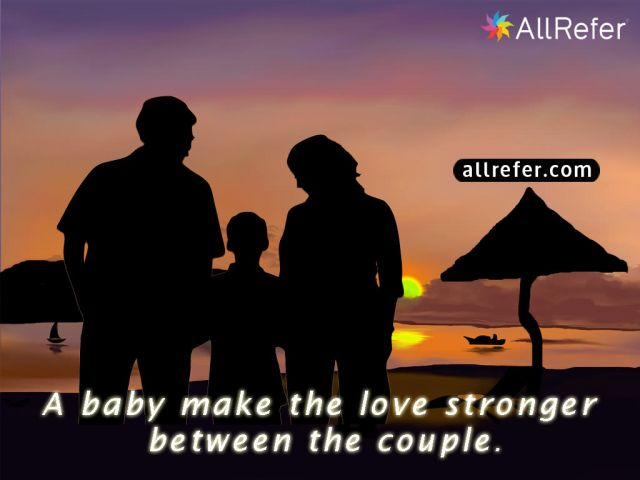 A baby makes the love stronger between the couple. Picture
