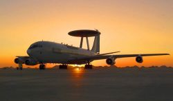 Airborne Warning and Control System - Sun sets on AWACS mission Image