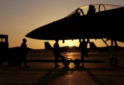 F-15 Eagle - Sun sets on flying mission Photo