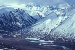 Noatak River and Mountains - Aerial View Photo