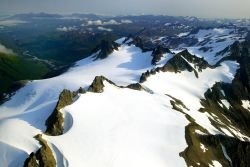Jagged Mountain Peaks - Aerial View Photo