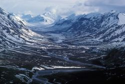 Noatak River and Glacial Valley - Aerial View Photo