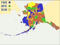 FWS, NPS, and BLM Lands in Alaska Map Photo